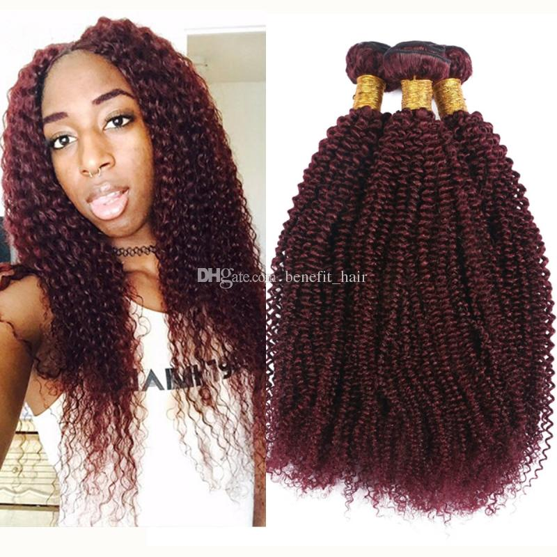 Wine Red 99j Afro Kinky Curly Hair Extension For Woman Indian