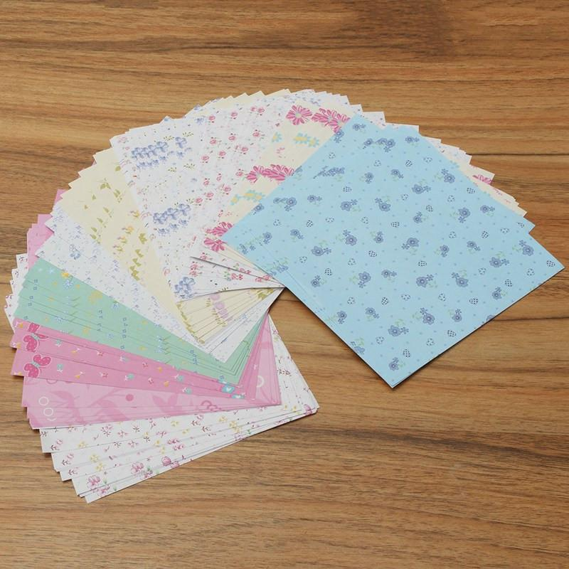 72Pcs/Set Square Floral Pattern Origami Paper Single Sided DIY Kids Folded Paper Craft Scrapbooking Decor Pattern Randomly