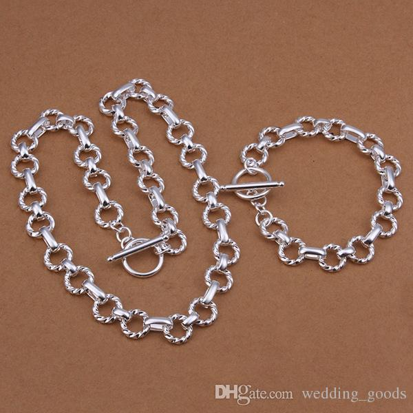 schwere 6mm Twist Ring Sterling Silber vergoldet Schmuck-Set für Männer WS059, schöne 925 Silber Armband Halskette Set