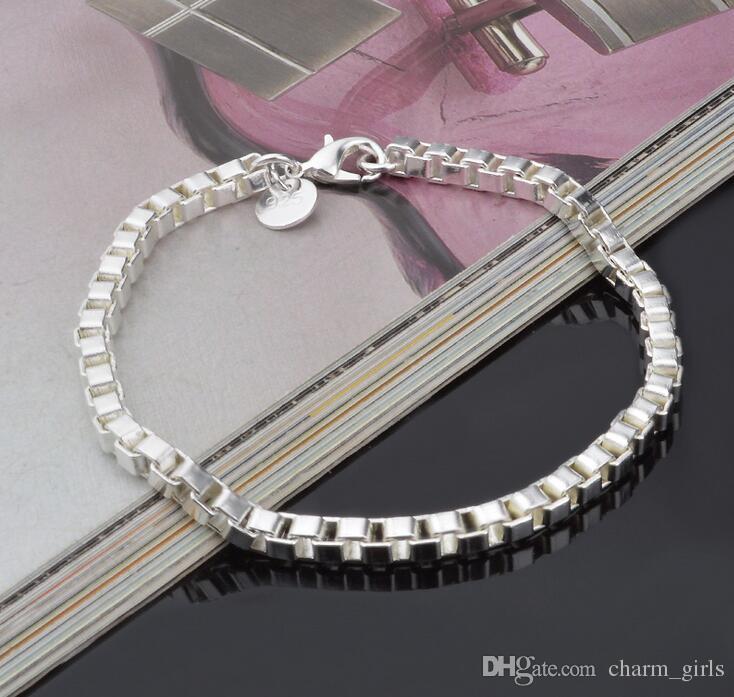 2017 Best-selling Men's Classic box bracelet 925 silver bracelet silver jewelry 19CM * 4MM