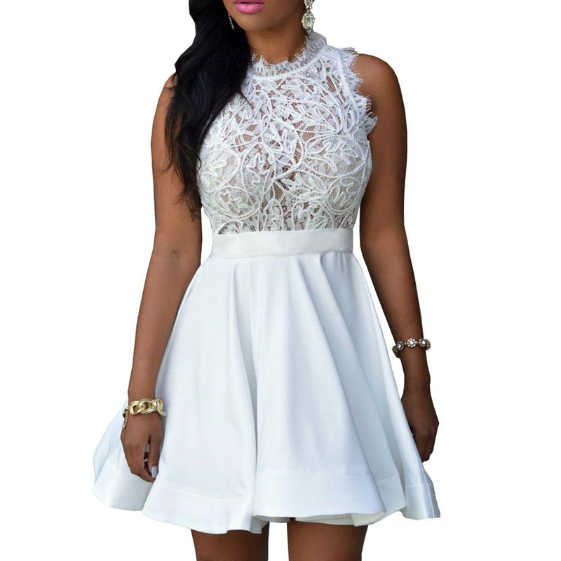 2019 Wholesale 2017 Summer Women S Dresses Wholesale Sexy Crochet Lace  Pleated Skater Dress Black White Patchwork Casual Lace Dresses S2797 From  Cacy f459c8540
