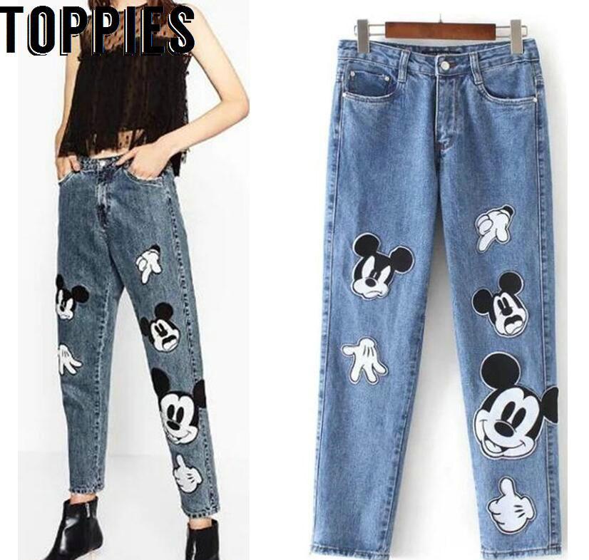 2018 new fashion jean boyfriend femme calca feminina jeans woman pantalon femme cartoon mickey. Black Bedroom Furniture Sets. Home Design Ideas