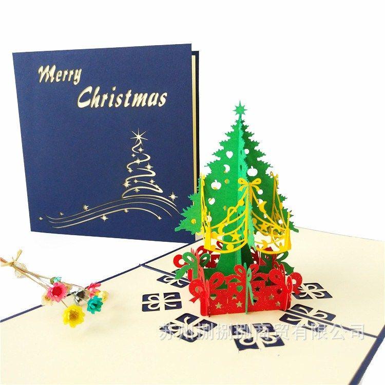 2017 Fashion New 3D Pop Up Holiday Greeting Card Handmade Christmas ...