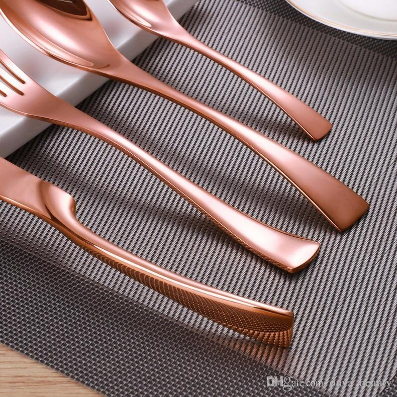 Rose Gold Plated Flatware Set Luxury 18/8 Stainless Steel Dinnerware Set Knife Fork Spoon Sets For Home Shopping Cutlery Dinnerware Sets Discount Dinnerware ... & Rose Gold Plated Flatware Set Luxury 18/8 Stainless Steel Dinnerware ...