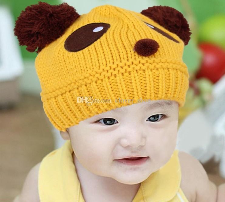 Мода новорожденных девочек мальчиков детские шапки вязаные шапочки эластичные шляпы теплая зима шерстяные прекрасный Панда шаблон Cap