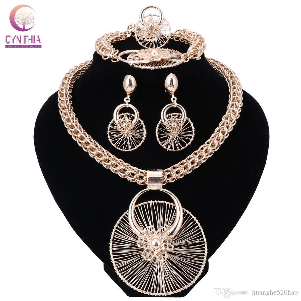 Moda Nigeriano Beads Wedding Jewelry Set Nupcial Dubai Cor de Ouro Colar De Cristal Brinco Define Contas Africanas Conjunto De Jóias