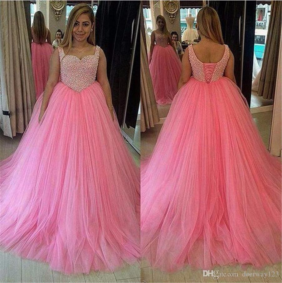 Pink Tulle Long Ball Gown Plus Size Petals Beading Top Prom Dress ...