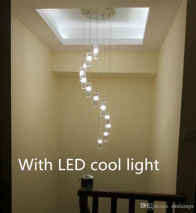 Penthouse 15-K9 Crystal pendant Light G4 Led Ceiling fixture large Modern hanging Chandelier for Living Room spiral stair lighting