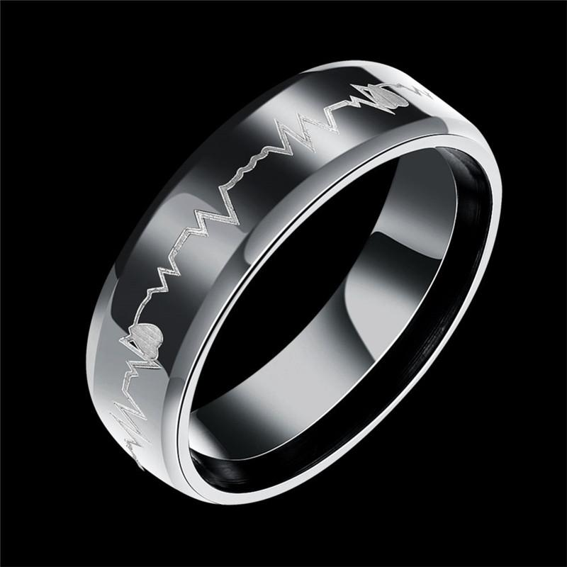 bb43fc3043 Titanium Steel Ring Black Heartbeat Ring ECG Heart Band Ring Finger Rings  Band Cuffs For Women Men Love Couple Rings Jewelry 080207 Engagement Rings  For ...