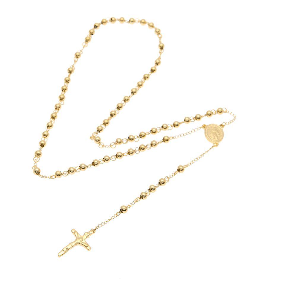Золото из нержавеющей стали шарик цепи Иисус Христос крест кулон розарий длинное ожерелье мужские женские хип-хоп ювелирные изделия