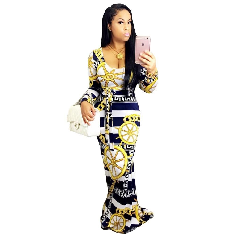 7e238557 New Arrival Winter Long Sleeve Maxi Dress Women Fashion Geometric ...