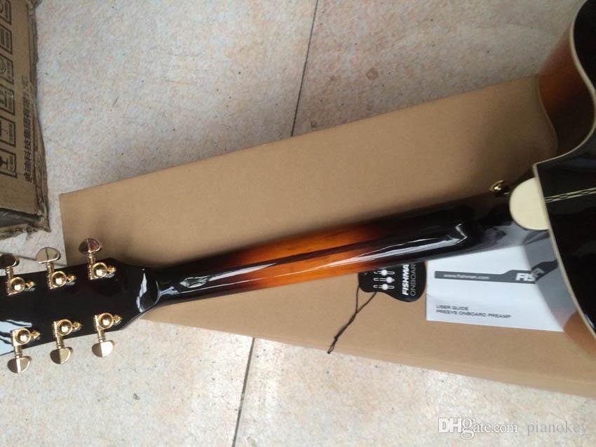 OEM 왼손잡이 43 인치 Jumbo Sunburst 컬러 어쿠스틱 일렉트릭 기타, 솔리드 스프루스 톱, 중국 제 J200 스타일 기타