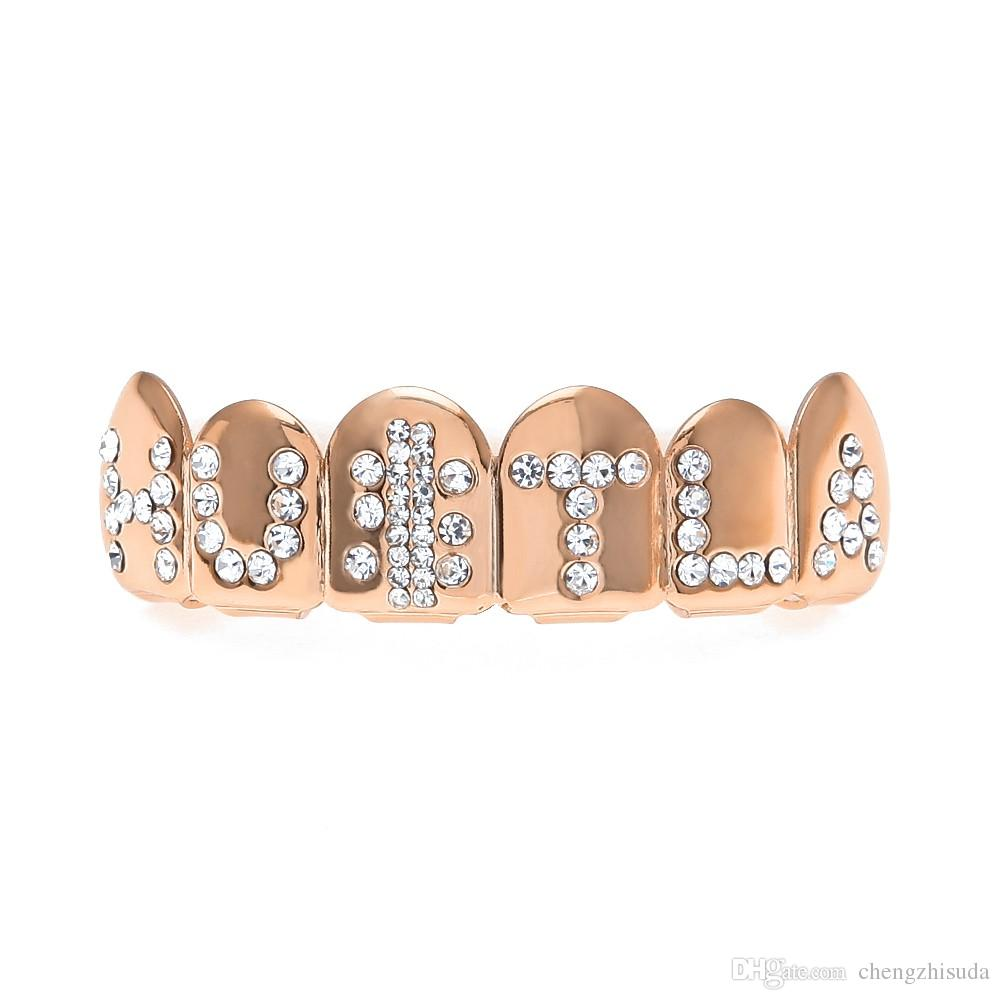 Real Shiny Hip Hop Engraved HULTA Teeth Grills Rose Gold Plated Copper Top & Bottom Teeth Grills Set Christmas Halloween Gift