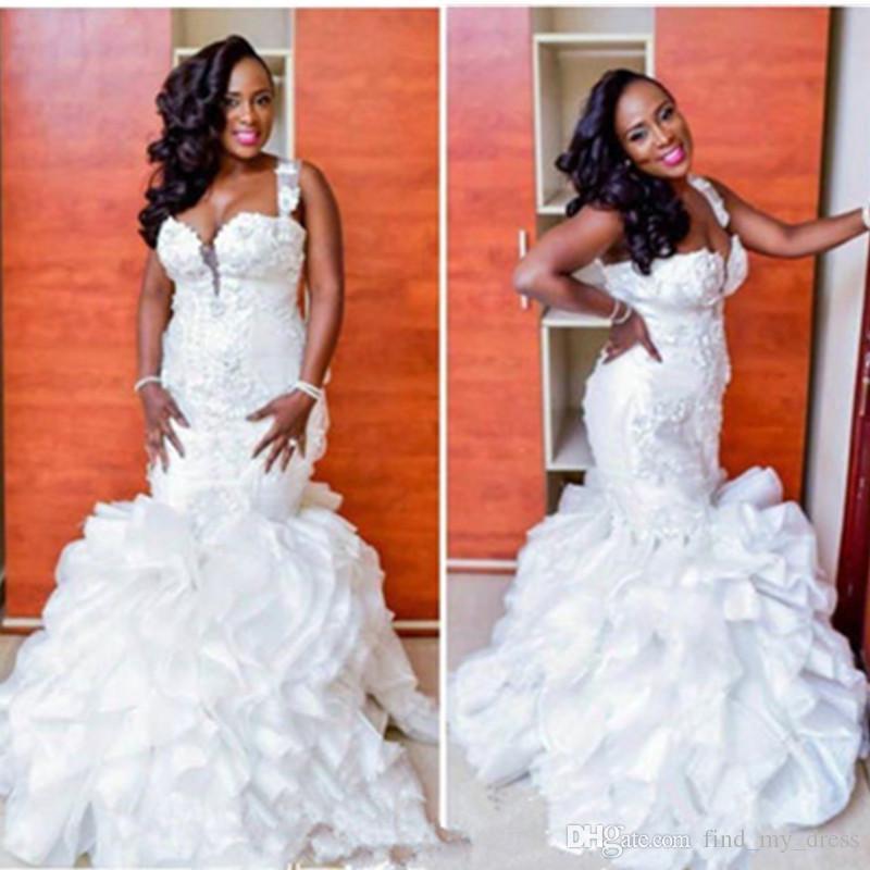 Сексуальный стиль русалка свадебные платья 2019 плюс размер оборками из органзы многоуровневые свадебные платья нестандартного размера аппликации ручной работы свадебные платья фантастические