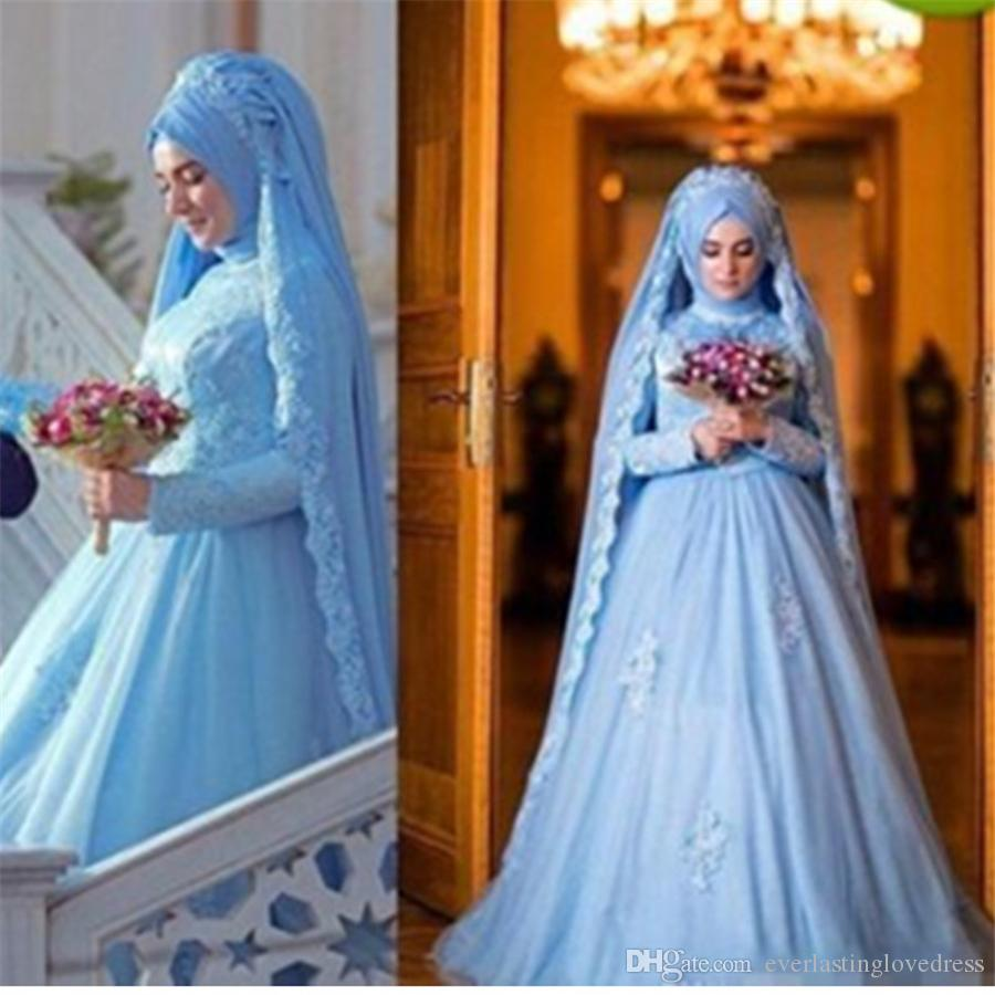 Discount Muslim Wedding Dresses A Line Modest New Sky Blue Bridal ...