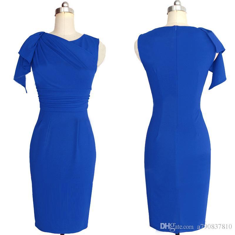 robe pour femmes S-5XL 2017 américain et à l'automne européen nouveau manchon côté feuille de lotus robe fourreau crayon plissée robe de soirée