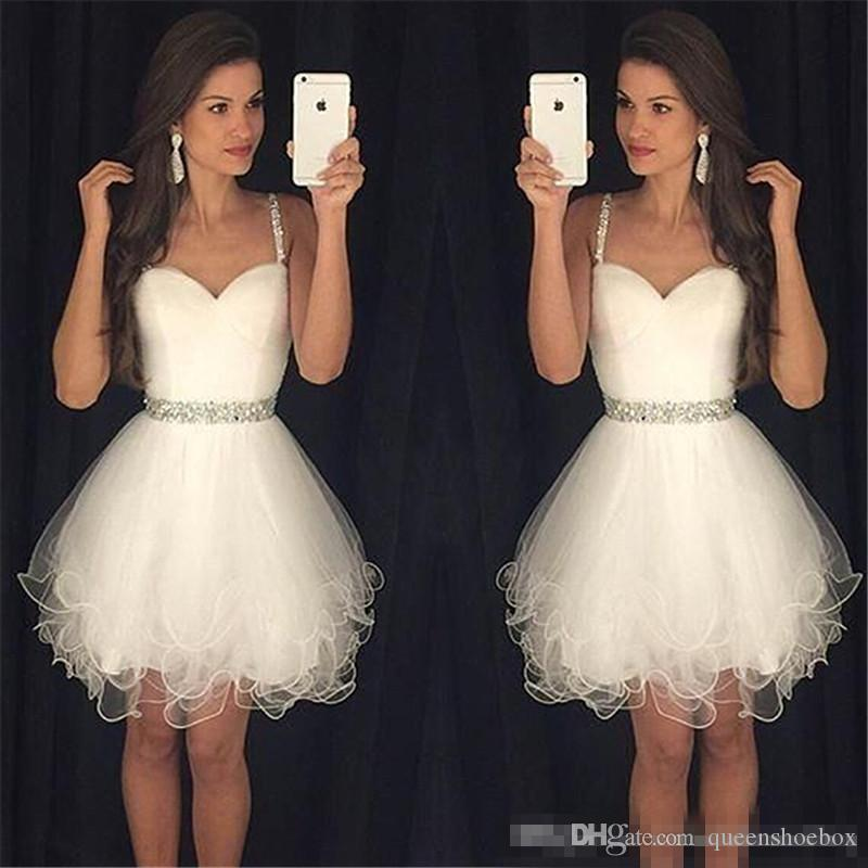 Cheap Little White Ivory Homecoming Dresses 2017 Plus Size Spaghetti Short Prom Party Gown Beaded Sash Juniors Bridesmaid Cocktail Wear