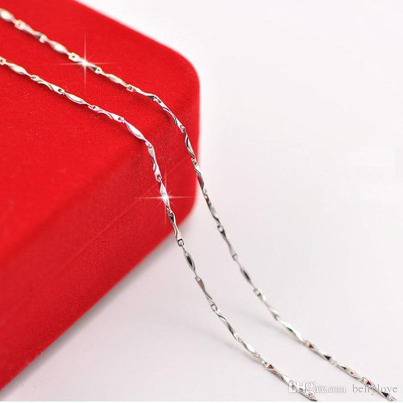 Fashion Party Wedding Jewelry Silver Plated 1MM Slim Thin Ingot Chain Necklace 45cm/40cm for Women Girls Christmas Gift