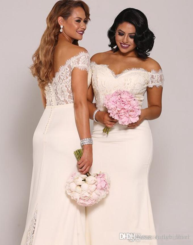 2019 New Sereid Lace Dridesmaid Dresses Plus Size Barato Empregada Formal Doméstica de Honra Vestidos Backless Long Off The Ombro Damas de Promoções