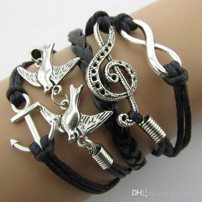 Braided Leather Handmade Bracelet Mutilayer Love Infinity