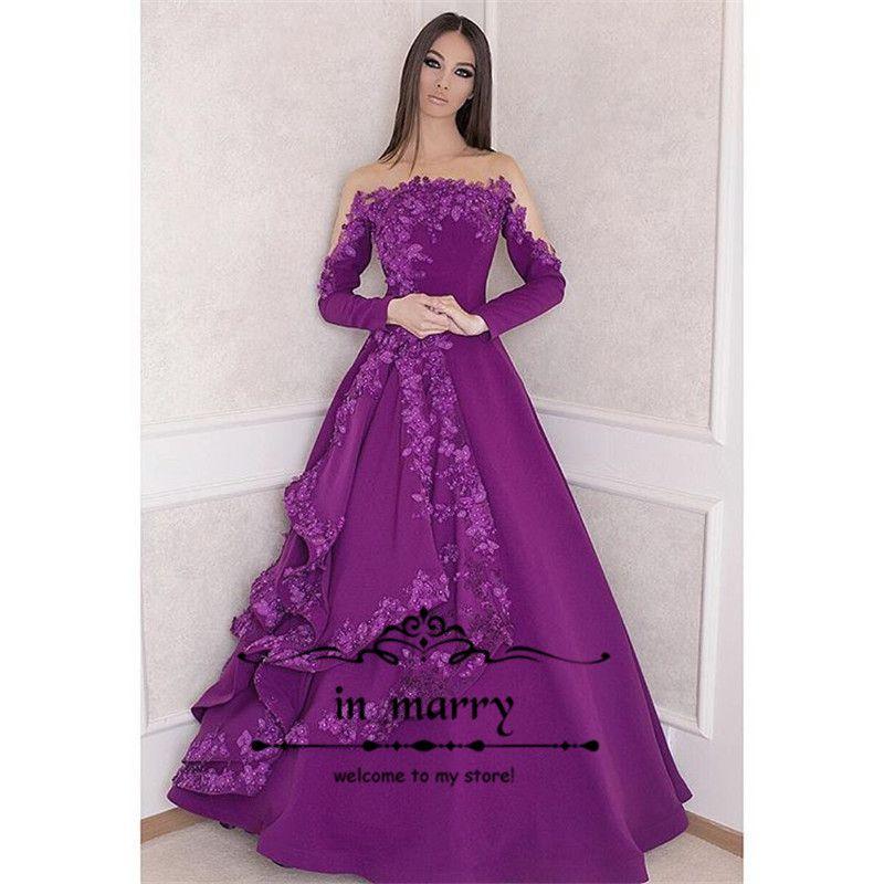 Compre Elegant Purple Plus Size Arabes Formal Evening Dresses 2018 ...