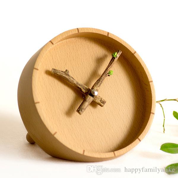 Creative Solid Wooden Wall Clock Crafts Simple Decorative Bud Clock ...