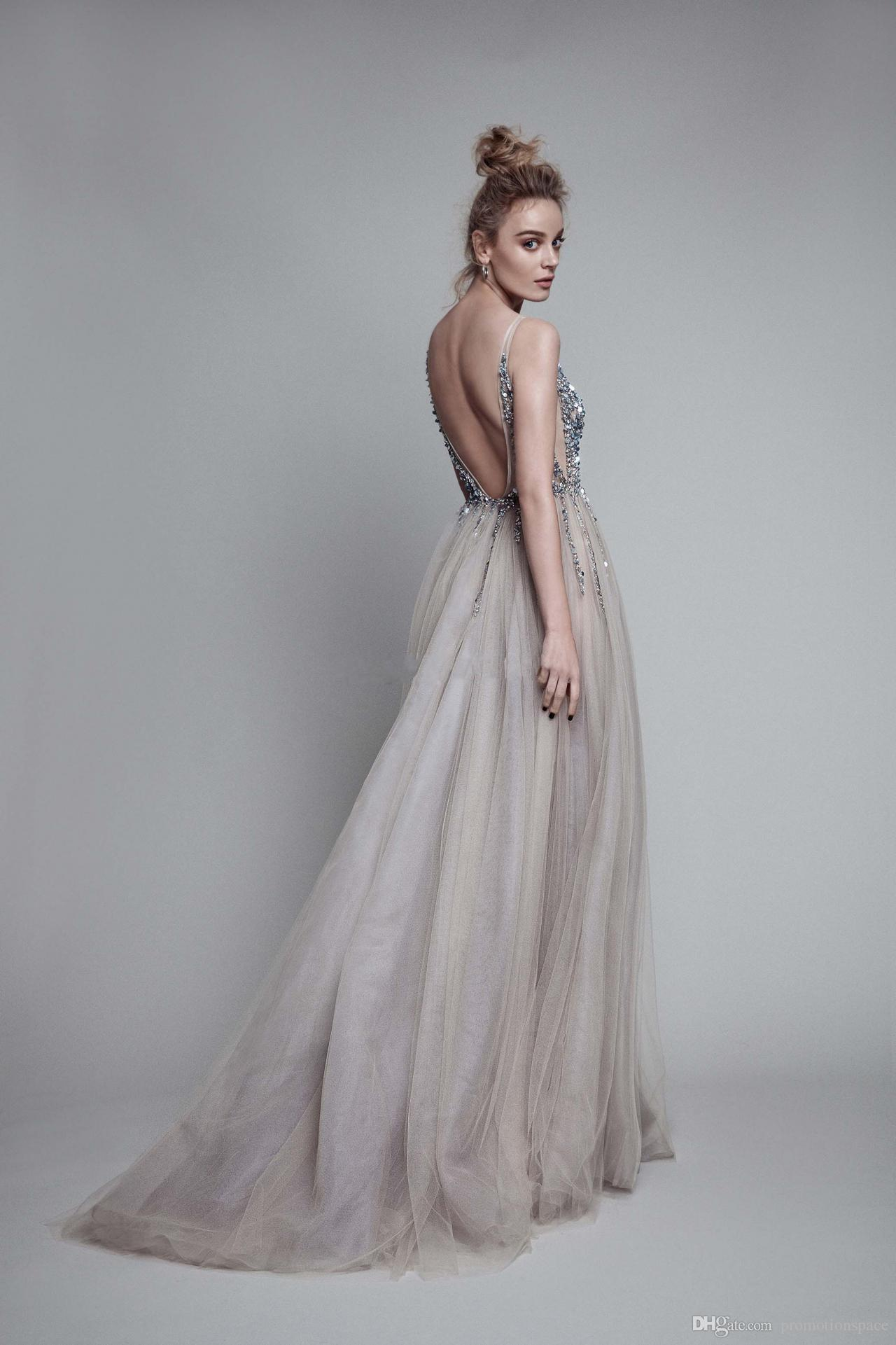 2017 Sexig Paolo Sebastian Evening Dresses Deep V Neck Beaded Crystal Tulle High Split Long Gray Evening Gowns Prom Party Dresses