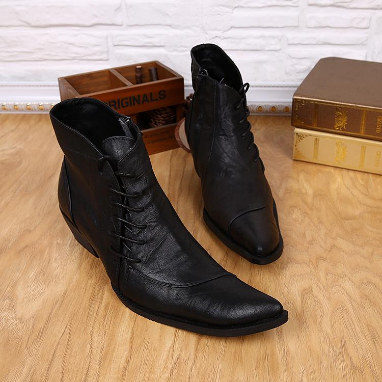 European Black Leather Men Short Chelsea Boots Oxford Shoes For Men  Mortorcycle Booties Side Zipper Business Dress Shoes Big Size 46 Chelsea  Boots Shoes ... ef867f2833