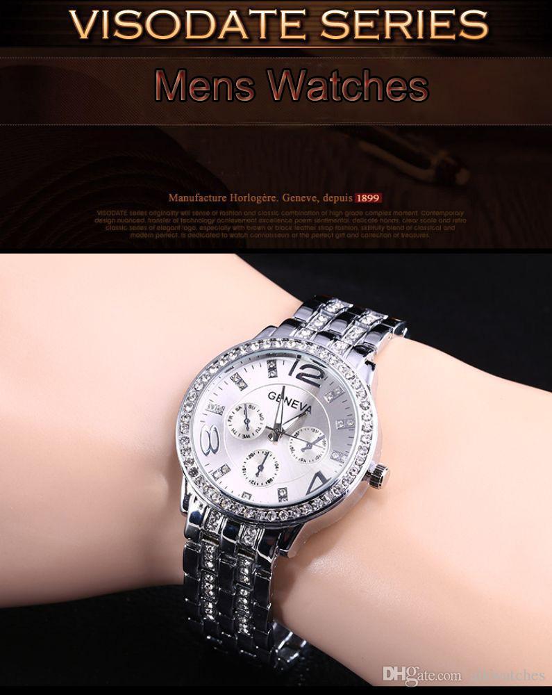 geneva watch women brand diamond fashion female lady gold braclet watch female rhinestone watch