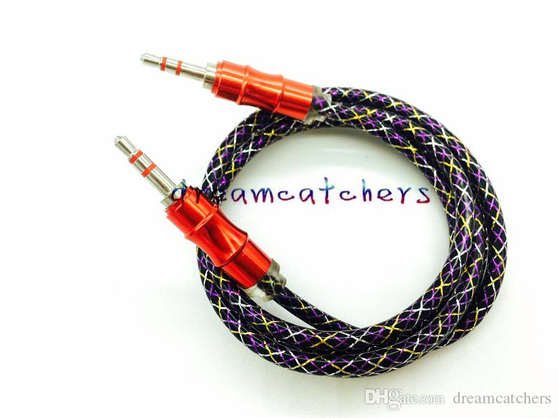 New 3.5MM Car Stereo Jack Male Cord Aluminum Metal AUX Braided Audio Cable 1M 3ft Wire for iphone Samsung MP3 Computer Speaker