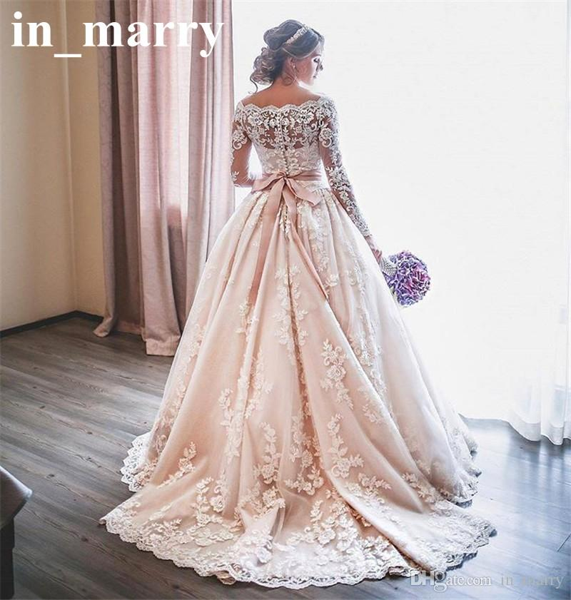 Discount blush pink long sleeves lace wedding dresses 2017 for Long sleeve blush wedding dress