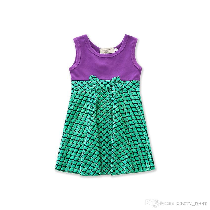 Летний мультфильм детское платье девушки Принцесса платья белый Микки Русалка лук Belle дети-line dress c1703