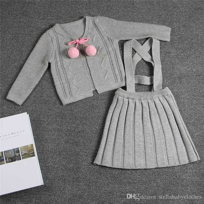 Acrylic Girls Outfit Suspender Skirt Set Stella Boutique Clothing Set Spring and Autumn Knitted Baby Girls Sweater Cardigan