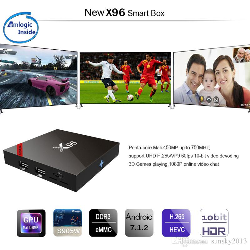X96 Android 7.1 TV Box Amlogic S905W Quad Core 2GB RAM 16GB ROM Android7.1 Mini PC 1G/8G 4K H.265 Streaming Media Player 2.4G Wifi