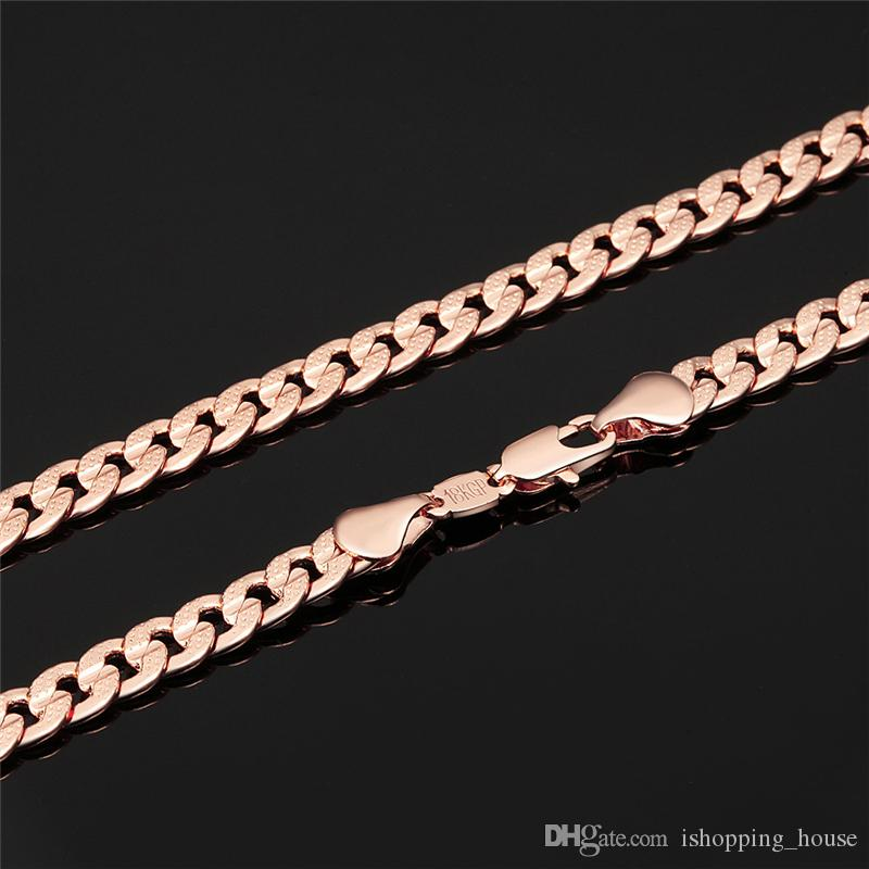 New Hot Rose Gold Color Long Big Chunky Hippie Rock Necklace 6mm 32inches Hip Hop Chains For Men Jewelry Wholesale JNL1061