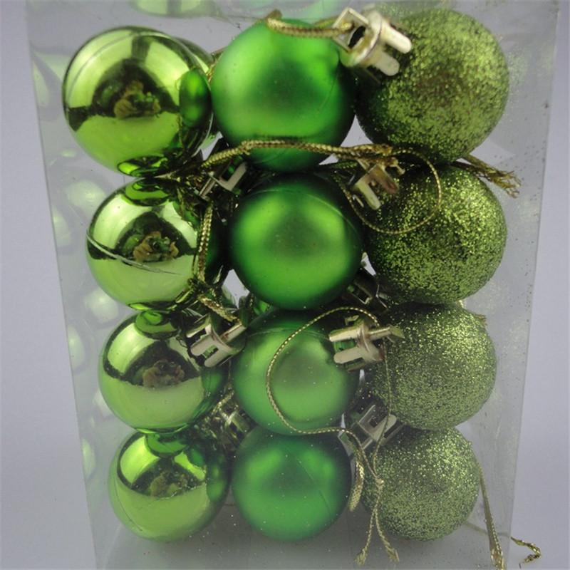 24pc new chic christmas baubles tree plain glitter xmas decoration ornament ball wb039 p50