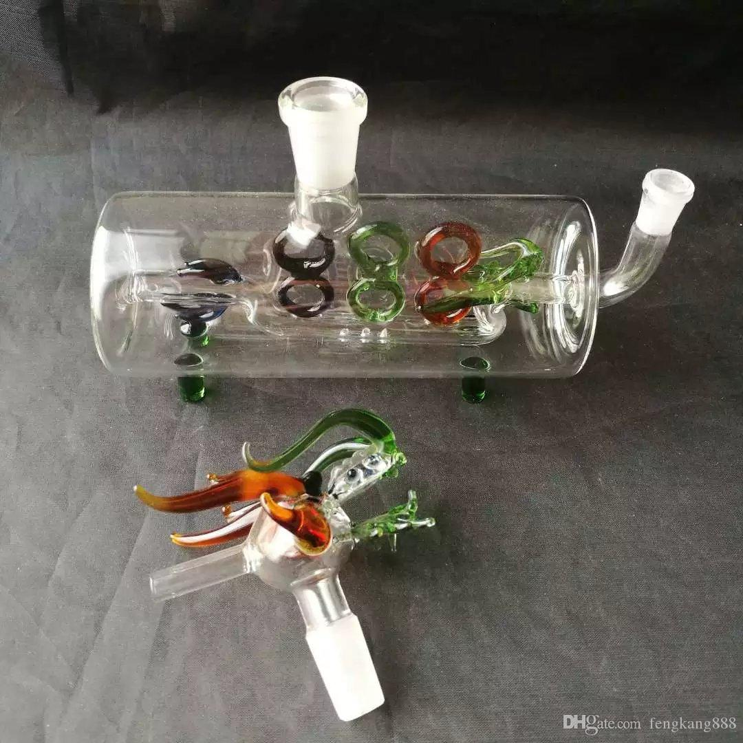 Horizontal tube dragon water bottle glass bongs accessories , Glass Smoking Pipes colorful mini multi-colors Hand Pipes Best Spoon glass Pip