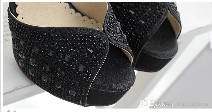 Gümüş siyah elmas taklidi kristal çivili ayak bileği kayışı peep toe platformu moda düğün ayakkabı 2017 boyutu 34 39 için pompalar