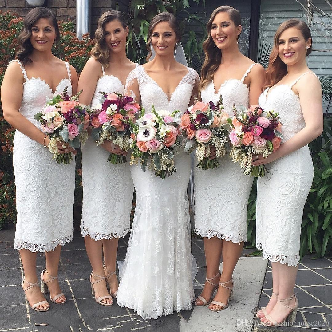 0a04893610 Ivory Lace Bridesmaid Dresses Tea Length Spaghetti Strap Sexy Country  Bridesmaids Dress Cheap Wedding Guest Gowns Custom Made Cheap Purple  Bridesmaid ...