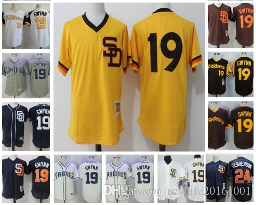 ... Brown Alternate Cool Base Majestic MLB Jersey San Diego Padres Mens  2017 Mens San Diego Padres 19 Tony Gwynn 24 Rickey Henderson Vintage  Throwback Flex ... 5b472b9dc