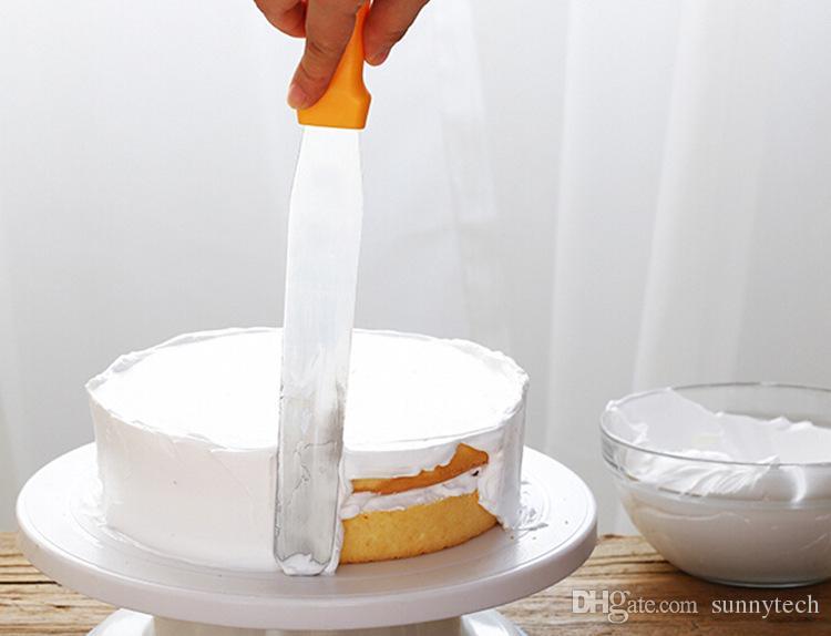 Metal Kitchen Baking Pastry Plastic Handle Cake Icing Spatulas Cream Butter Smooth Flat Scraper Blade Decorating Tool WA1473