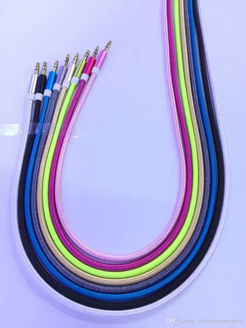 Pure kleur aluminium metalen adapter nylon gevlochten koord 3.5mm stereo audio aux kabel 1m 3ft od3.8mm /