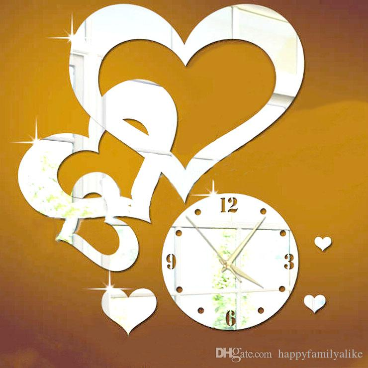 3d Diy Acrylic Love Heart Clock Mirror Wall Clock Surface Stickers ...