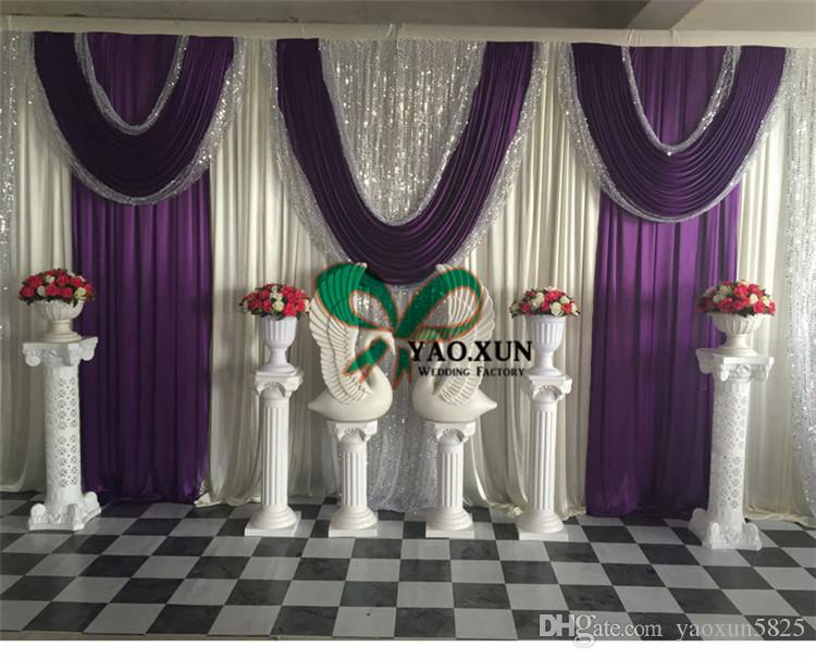 Nuovo design tenda sullo sfondo di nozze con decorazioni in tessuto drappeggiato con paillettes include il supporto tubo \ Stent