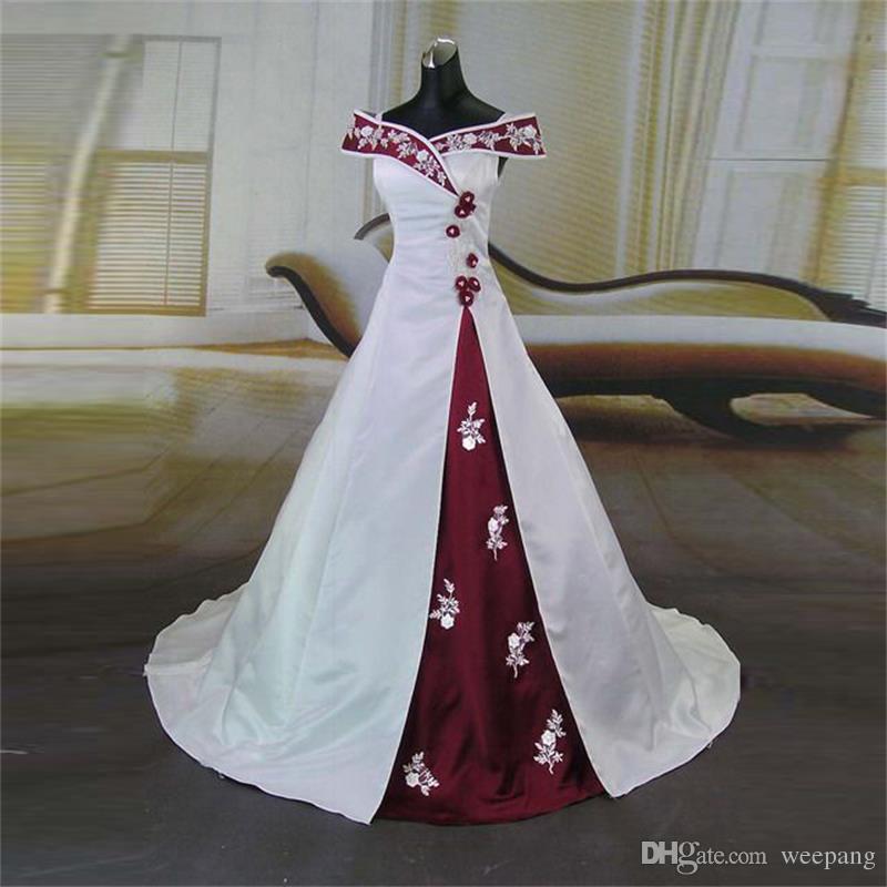 Vestidos de novia rojos con blanco