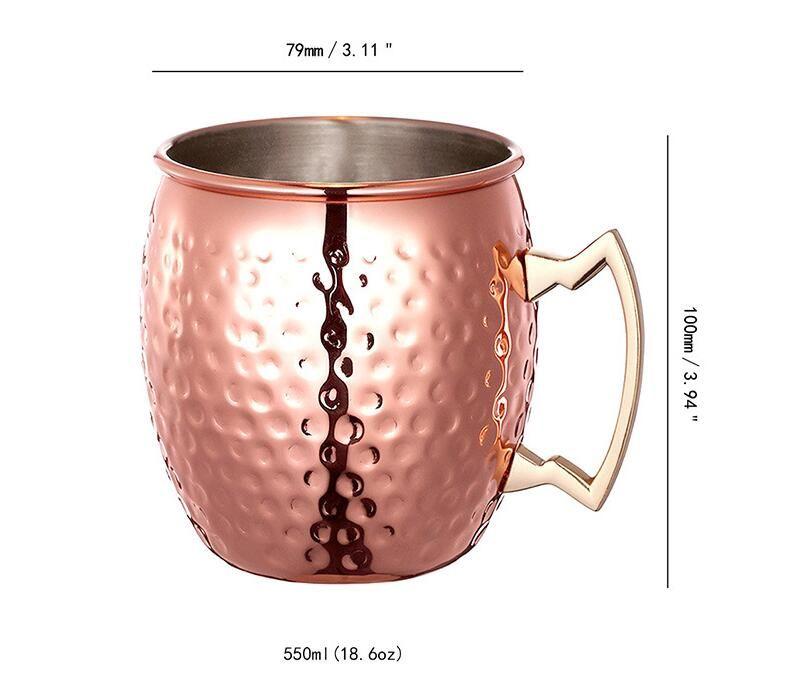 Tasse de mule de Moscou en acier inoxydable plaqué de cuivre martelé Tasse à bière Tasse à café Tasse à café Verre À Eau Verre