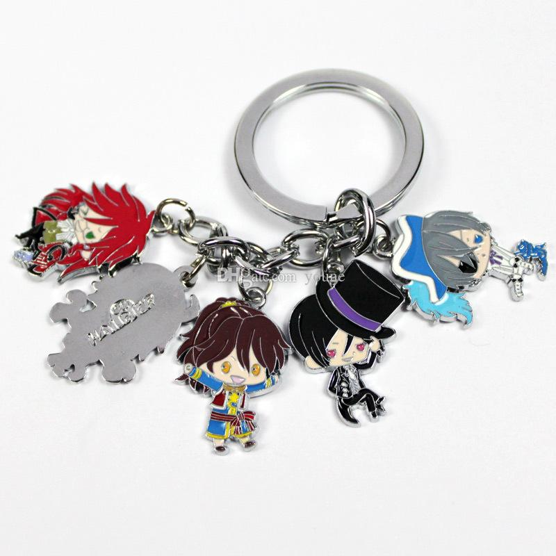 Hot !2Style Anime Black Butler Design Cartoon Character Metal Pendant Keychain Keyrings Gift In package Can pick/Mixed