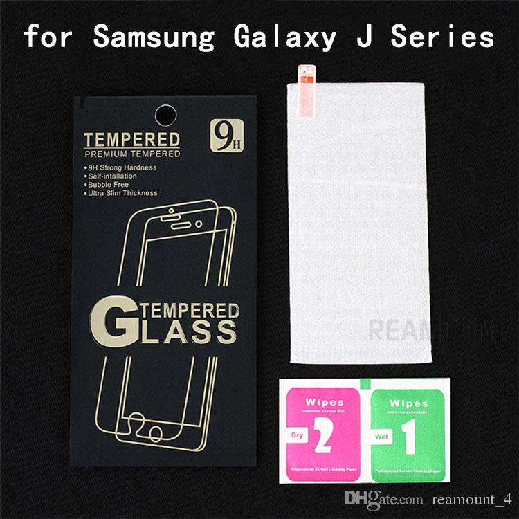 Wholesale Tempered Glass Film for Samsung Galaxy J7 9H Hard 2.5D Front Screen Protector with Clean Tools for Samsung Galaxy J5