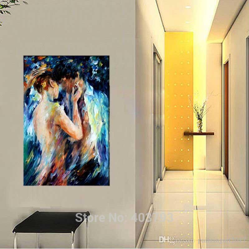 Loved Couple Intimacy Nude Handmade Painting Abstract Body Art Palette Knife Oil Picture for Home Hotel Wall Decor