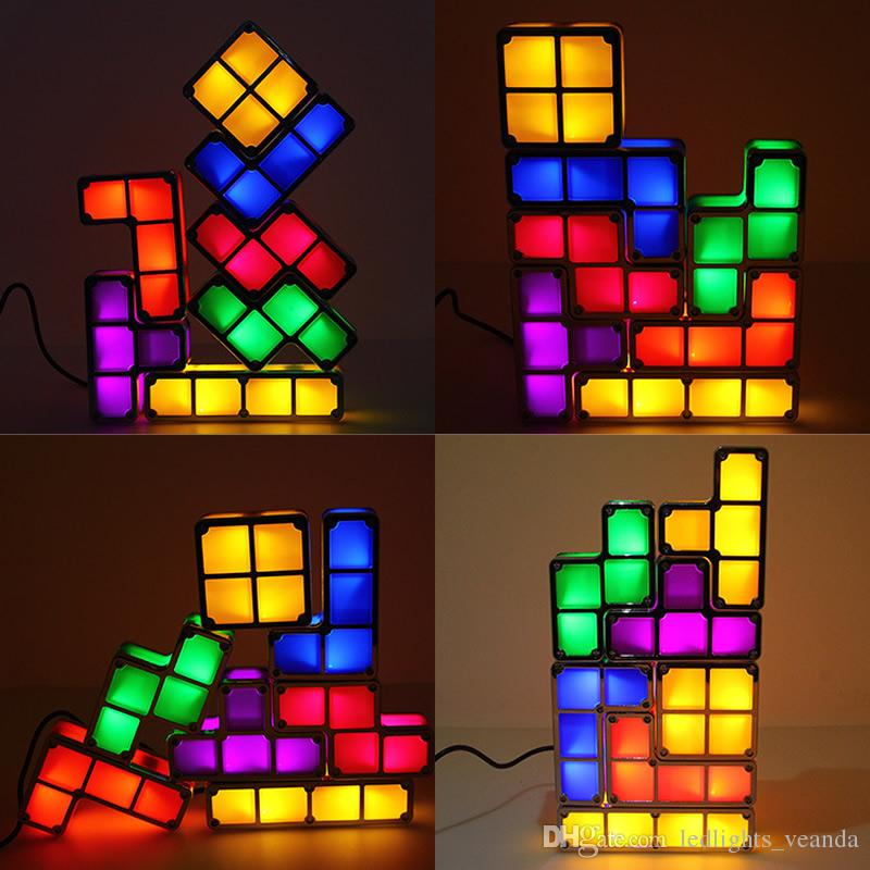 2019 Led Glow Tetris Puzzle Desk Table Lamp Diy Colorful Magic Blocks Stackable Night Light